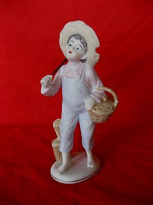 Vintage Porcelain Bisque Fishing Boy Made In Japan By Ucagco