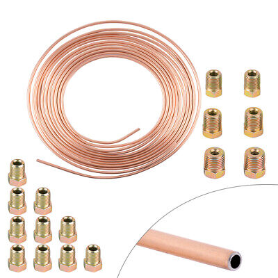 Copper Nickel Steel 3/16 Brake Line Tubing Kit Armor With 16Pcs Gold Fittings