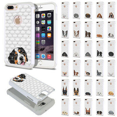 """For Apple iPhone 8 Plus / iPhone 7 Plus 5.5"""" Dog Design Bling Hybrid Case Cover"""