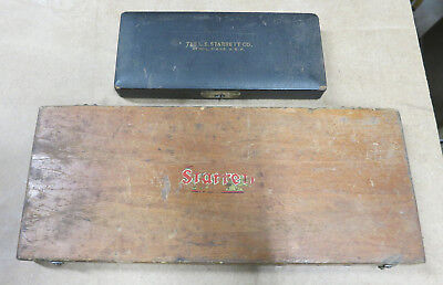 Two Vintage Starrett Depth Micrometers Wooden Box