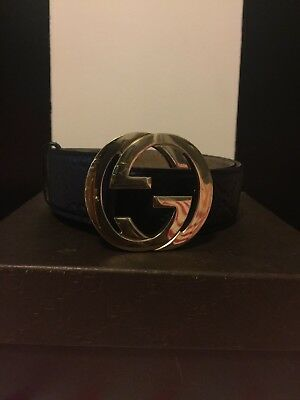 GUCCI Authentic Women's Belt, Blue with Gold GG Buckle.