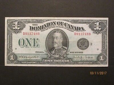 1923 $1 Dominion of Canada DC25n Black Seal Group 3 Series D