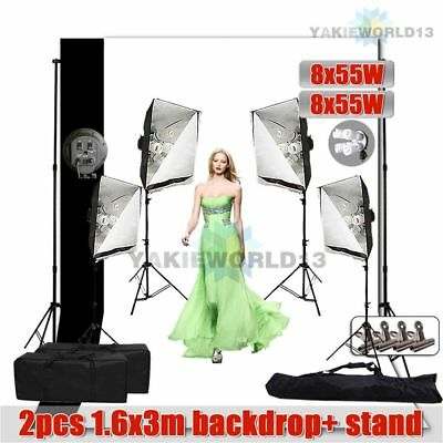 4400W Photo Studio Softbox Continuous Lighting Soft Box Light Backdrop Stand Kit