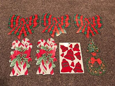 Lot of Vintage Cardboard Cut Outs & Holiday Decorations Christmas Xmas Bows
