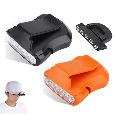 Portable 5 LED Clip-on Cap Hat Head Light Torch Camping Hiking Fishing Headlamp