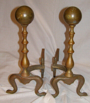ANTIQUE/VINTAGE Set Of  BRASS/CAST IRON Fireplace Andirons Fire Dogs