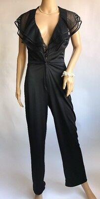 Vintage Frederick's Of Hollywood Jumpsuit 1980s Black V Neck Ruffle Collar Small