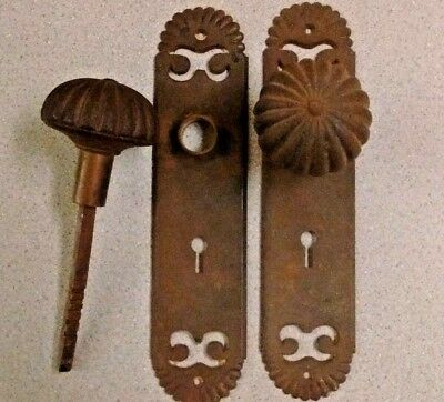 Antique Victorian Door Knob Set Matching 2 Knobs and 2 Back Plates - York
