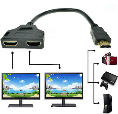 1080P HDMI Port Male to 2 Female 1 In 2 Out Splitter Cable Adapter Converter js