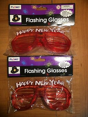 Lot Of 2-Flashing Glasses-Happy New Year-Shutter Glasses-Red-Free Shipping