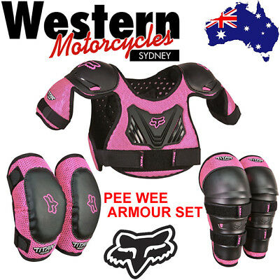 FOX 2018 Titan Roost PEE WEE ARMOUR SET - Chest, Elbow and Knee Protection PINK