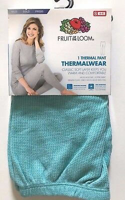 Womens Fruit of the Loom Turquoise Thermal Pants -THERMALWEAR- Size S(4-6) New