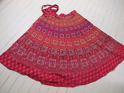SKIRT Wrap Genuine VINTAGE Indian Cotton Red Circle Ankle length One Sz Hippie