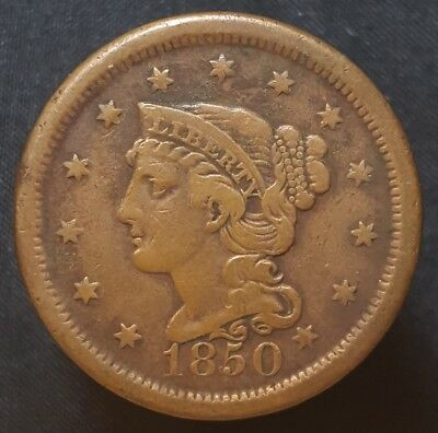 1850 Braided Hair Large Cent Nice Coin For Your Collection Free Shipping