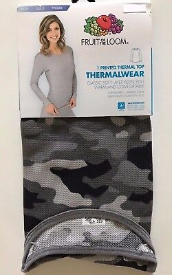 Womens Fruit of the Loom Grey Camouflage Thermal Top--S(4-6) or L(14-16) NEW