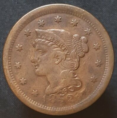 1852 Braided Hair Large Cent Nice Coin For Your Collection Free Shipping