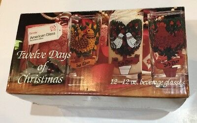 Vintage NEW Boxed Indiana Glass American Twelve Days of Christmas Set 12 Glasses