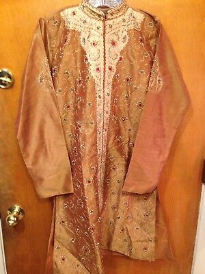 Boys size 13 wedding Indian Kurta Sherwani Kameez TOP ONLY embroidered beads NEW