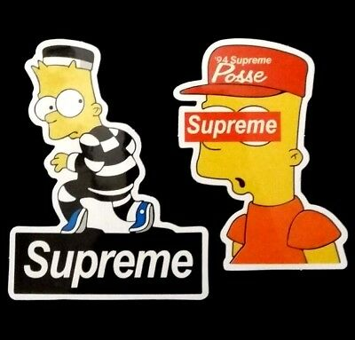 Supreme Bart Simpson Sticker 2 Pack Decals Simpsons