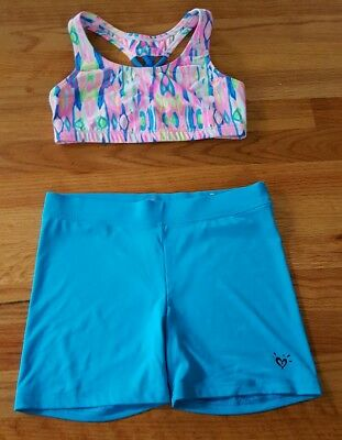 Girls Justice 2 pc Outfit Set Sports Bra Top Shorts Dance Gymnastics Size 34 14