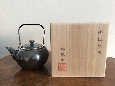 Japanese New Pure Silver Tea Kettle signed 純銀堂 / W14× H14[cm] 269g / with Box