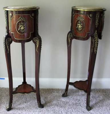 Louis XVI Antique Ormolu Pedestals: Kingwood, Walnut, Marble , French, Celtic