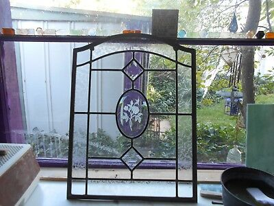 Beveled Diamonds With Carved  Beveled Oval Glass Rose  Panels (2)  16 X 21""