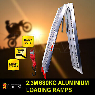 500KG 2.3M Single Aluminium Folding Loading Ramp ATV Motobike Motorcycle Trailer