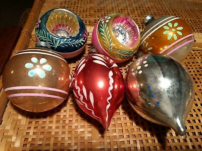 VINTAGE Lot of 6 Pink Blue Glass Ornaments, Indents Teardrops , USA