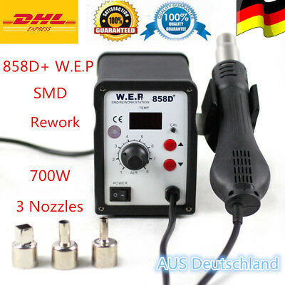 WEP 858D+ Schweißen SMD Rework Digital Station 700W Hot Air Solder Blower Gun DE