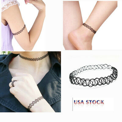 12PCS Fashion Retro Vintage Gothic Tattoo Choker Stretch Necklace Henna Elastic