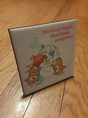 Vintage Care Bears Ceramic Tile - Jolly Things Friends Tender Love Christmas 4""