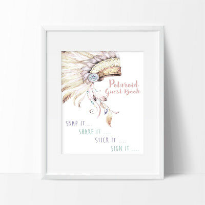 Polaroid Guest Book Sign, Birthday Sign, 1st Birthday, Tribal, Girl Or Boy