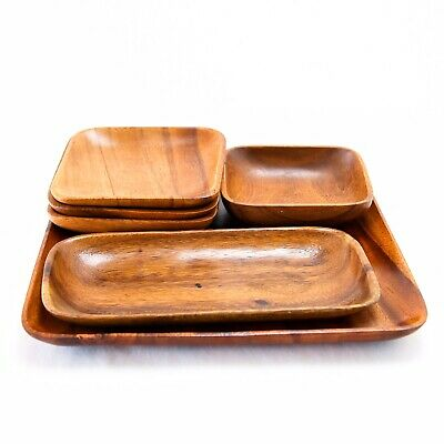 Matching Handcrafted Vintage Wooden Bowls Mid Century Monkey Pod Retro Modern