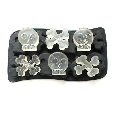 Skull Shape 3D Ice Cube Mold Maker Bar Party Silicone Tray Chocolate Mould Gift