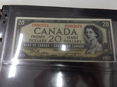 1954 Canada $20 Note - Devil Face Variety XF Condition