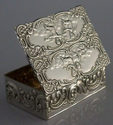 Beautiful English Solid Sterling Silver Cherub Snuff / Pill Box 1971
