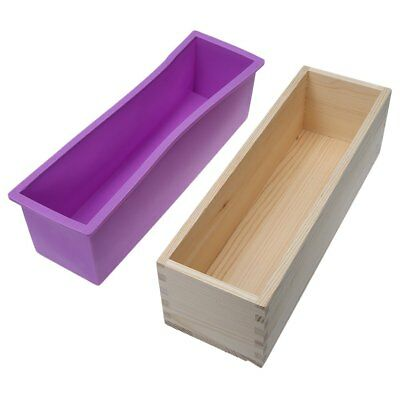 900g/1200g Rectangle Silicone Soap Loaf Mold Wooden Box DIY Making Tools 4 Color
