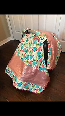 Handmade Baby Girl Bright Pink & Teal Chevron & Pear-Patterned Car Seat Canopy