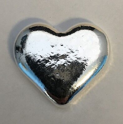 "1 oz .999 SOLID SILVER BULLION POURED, ART BAR: 3D - "" SILVER HEART """