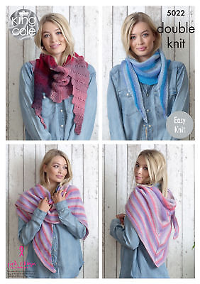 King Cole Ladies Double Knitting Pattern Womens Easy Knit Winter Scarves 5022