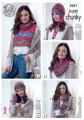 King Cole Ladies Super Chunky Knitting Pattern Hats Scarves Wrist Warmers 5031