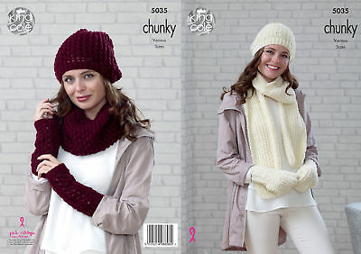 King Cole Ladies Chunky Knitting Pattern Hats Scarves Mittens Wrist Warmers 5035