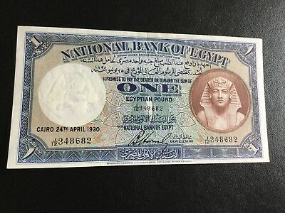 Egypt ,, Banknotes1930, One Pound signed Horensby J12 perfect Condition Rare