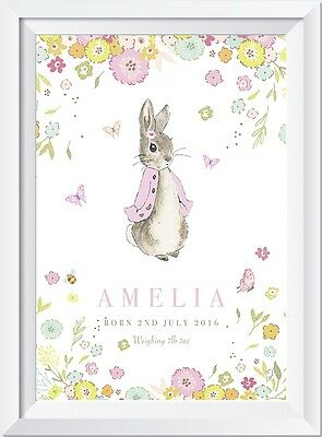 Personalised Peter Rabbit baby name  CRYS PRINT gift christening nursery picture