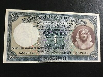 Egypt ,, Banknotes1940 One Pound signed Nixon J38 perfect Condition Rare