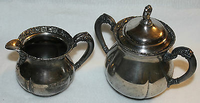 Vintage Monarch Silver Co Silverplate Cream & Sugar Bowls