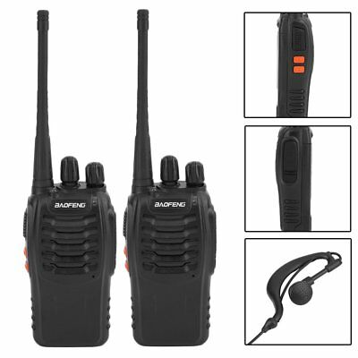 2X Baofeng BF-888S + 2*Headset UHF CTCSS/CDCSS Handfunkgerät Walkie-Talkie 5W OK