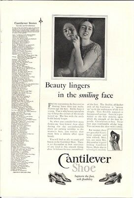 Cantilever Shoe Beauty Lingers in the Smiling Face Vintage Ad 1926