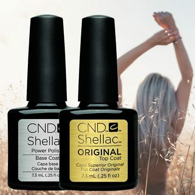 ORIGINAL 2Pcs CND Shellac UV Gel Nail Polish Best Gel Lamp Base Gel Top Coat 7.3